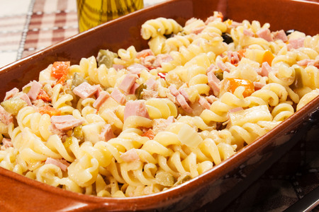 cold pasta salad on the table