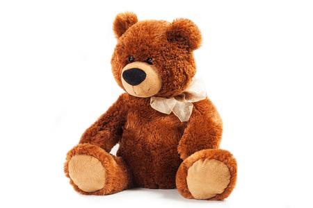 장난감 곰에 격리 된 화이트 베어 스톡 콘텐츠