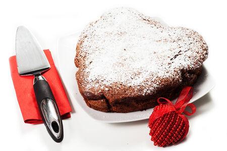 cake \\\Red Velvet\\\ in the form of heart. Valentine Stock Photo