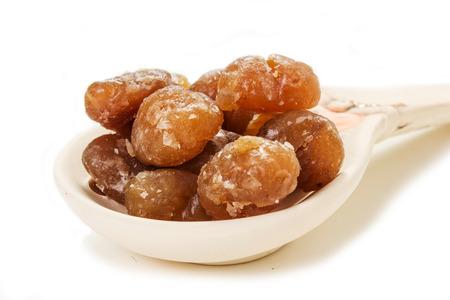 marron: marrons glaces on the white background