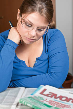 discouraged: Girl unemployed looking for work Stock Photo