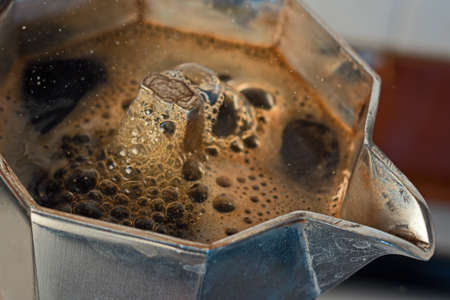 mocha: The coffee is emerging from the mocha Stock Photo