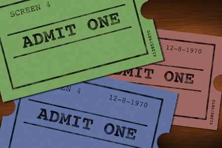 booked: Drawing of three old tickets cinema colored Stock Photo
