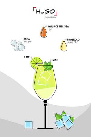 juice glass: Illustration of cocktail hugo Stock Photo