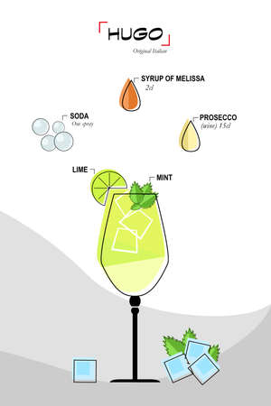 vaso de jugo: Ilustración de cóctel de hugo