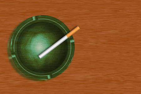 Illustration of ashtray with cigarette illustration