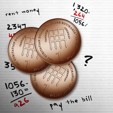consumer society: Three copper coins