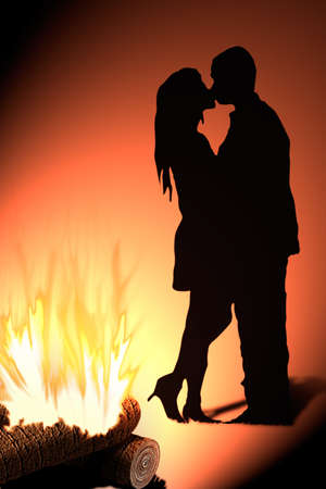 couples: illustration kiss shadow in front of the fire