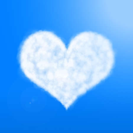 blue sky with clouds: heart of cloud in blue sky