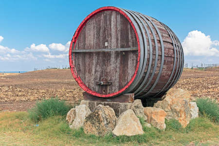 iron hoops: isolate barrel  on rock in green land