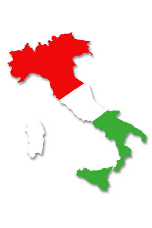 tricolor: map of Italy in tricolor