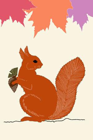 bushy: illustration of squirrel with acorn in autumn