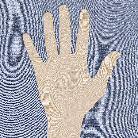 impress: illustration of hand impress in fingerprint
