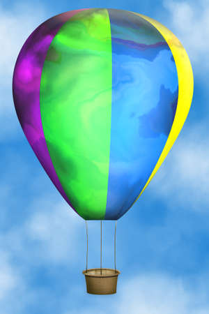 hotair: illustration of colored hot-air balloon in blue sky
