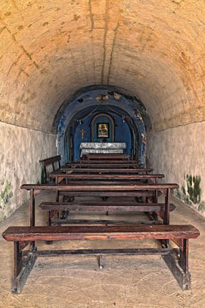 bible altar: indoor of an old church with altar in perspective