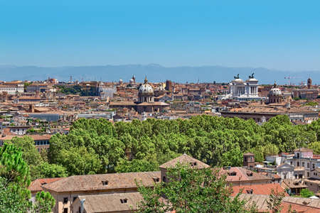 viewpoint panorama of Rome in sunlight Stock Photo