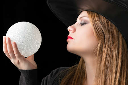 magic ball: blond witch with magic ball