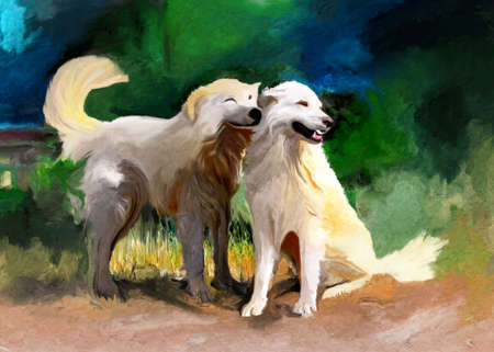sheepdog: two brothers of maremma sheepdog in painting