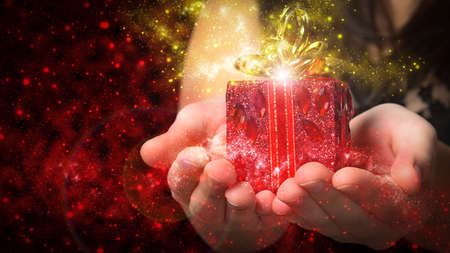 gold gift box: red gift Christmas magic
