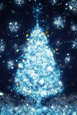 fir tree: illustration of silver Christmas tree on blue background