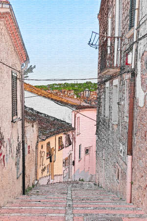 teck: perspective of stairway street in Campobasso