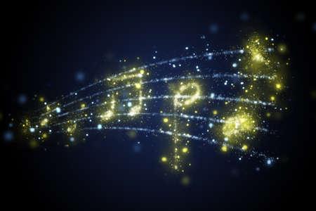 orquesta: ilustración de pentagrama con notas musicales Foto de archivo