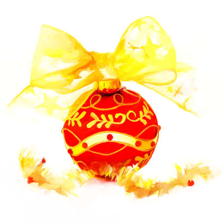 adorn: illustration od red and gold christmas ball Stock Photo