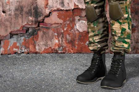 uniform green shoe: illustration of black soldiers boots
