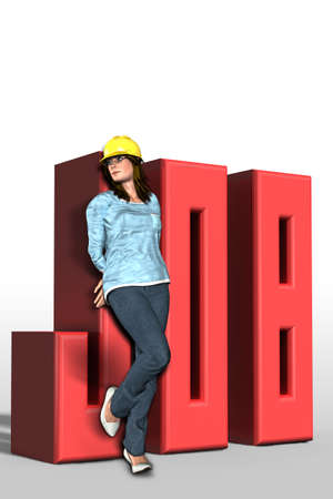 job offers: 3D illustration of job with girl Stock Photo