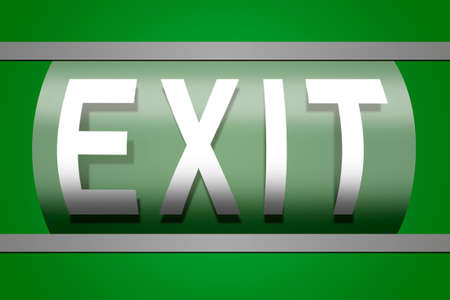 green exit emergency sign: illustration of green exit