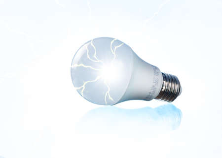 electric bulb: white bulb with electric energy