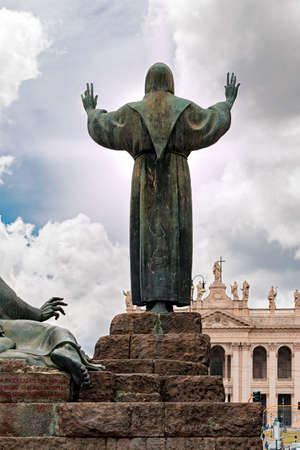 st francis: statue of St. Francis in Rome Stock Photo