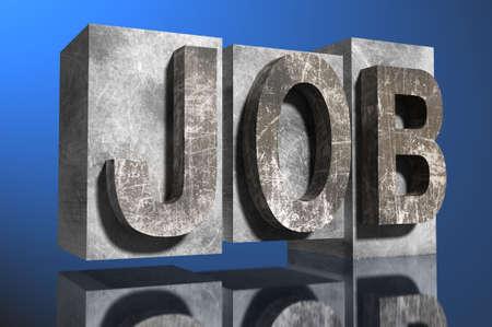 job hunting: illustration of job in stone Stock Photo