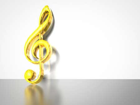 chiave di violino: Illustrazione 3D di chiave di violino oro