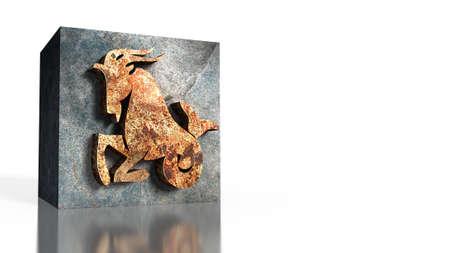 capricornus: 3D illustration of zodiac sign of Capricorn
