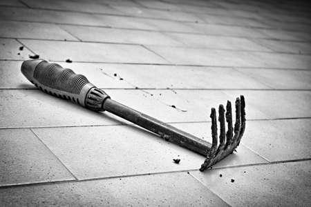 dientes sucios: rastrillo de jardín en blanco y negro