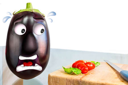 grimace: aubergine with worried face Stock Photo