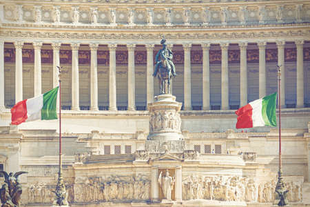 altar of fatherland: Altar of the Fatherland with Italian tricolor