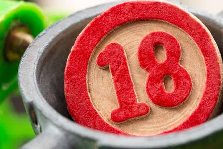 eighteen: eighteen, bingo number Stock Photo