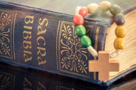 クロスと聖書 写真素材