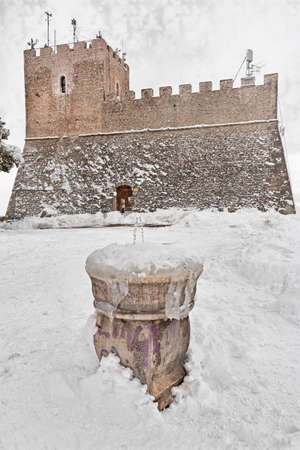 castle and fountain of Campobasso with snow Stock Photo
