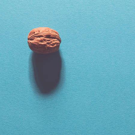 walnut on blue background Stock Photo