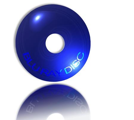 bluray: Blu ray disc on white glass reflective