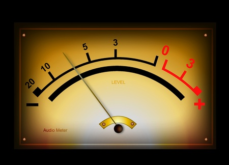 Analog audio meter and level measurement signal