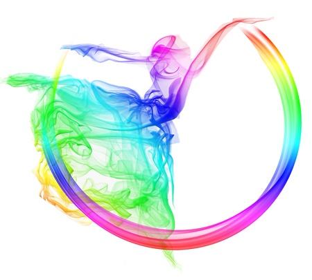 sagoma ballerina: Fumo di danza Archivio Fotografico