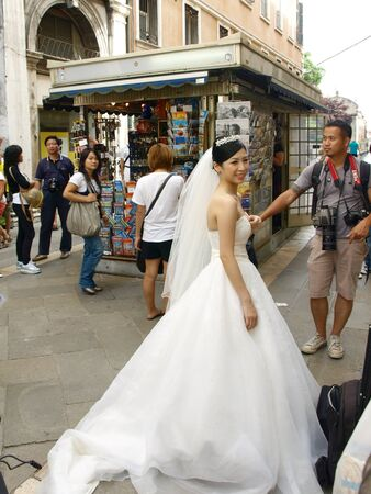 japanese wedding after church walking in venice city Stock Photo - 13337365