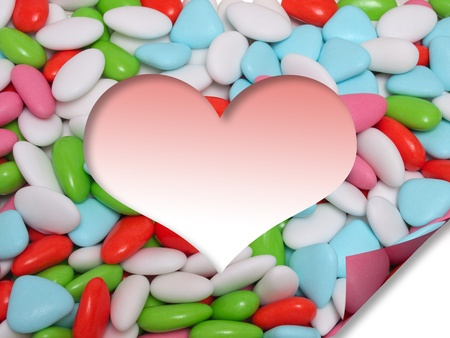 effect sticky film of colored heart shaped confetti photo