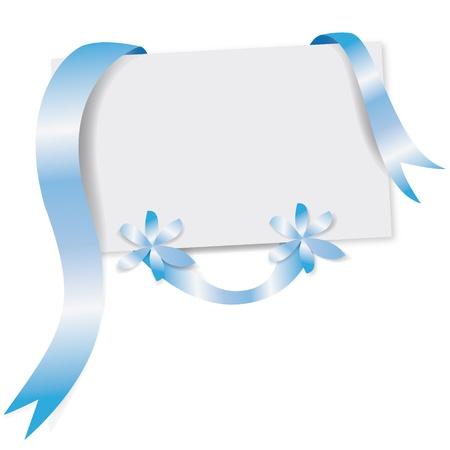 wenskaart met blauw lint Stock Illustratie