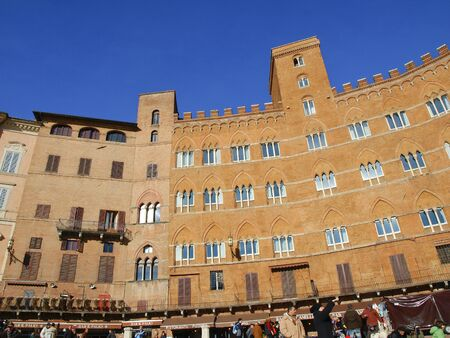 medioeval: particular of Campo square siena italy Editorial