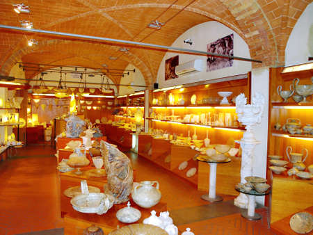 volterra: interiors shop with famous objects of alabaster in Volterra, Italy Editorial